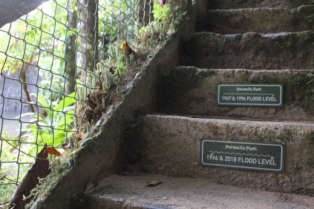 洪水の水位を示すサイン