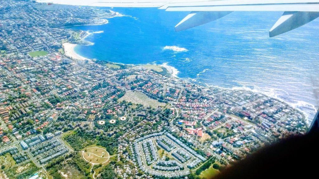 上空から見たホバート市内